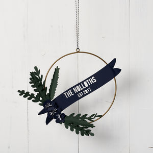 Personalised Papercut Christmas Wreath