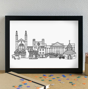 Cambridge Landmarks Skyline Art Print