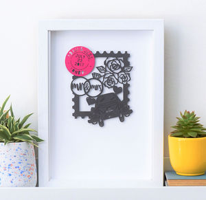 Personalised Wedding Stamp Papercut Artwork Gift
