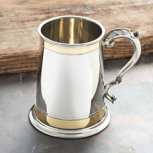 Personalised Grand Tankard With Brass Detailing