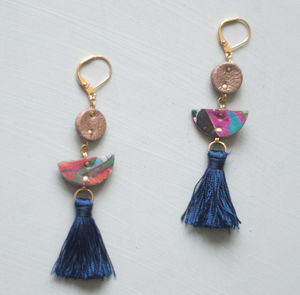 Above Earth Marbled Leather Tassel Earrings