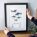 Personalised Shark Family Print With Names