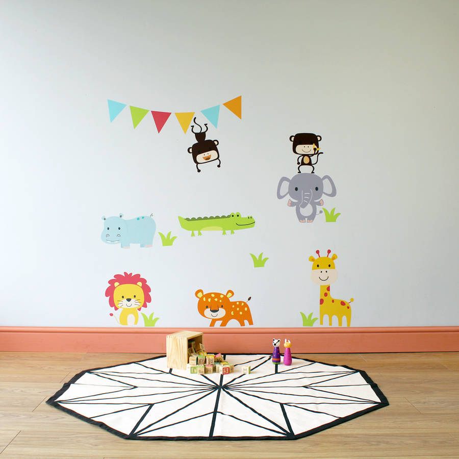 jungle animal childrens wall stickers by parkins interiors childrens born free animals jungle wall stickers decals