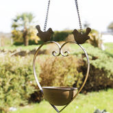 Love Birds 6th Anniverary Iron Hanging Heart Bird Dish - garden