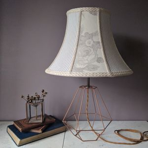 Linen Patchwork Wire Lamp - table & floor lamps