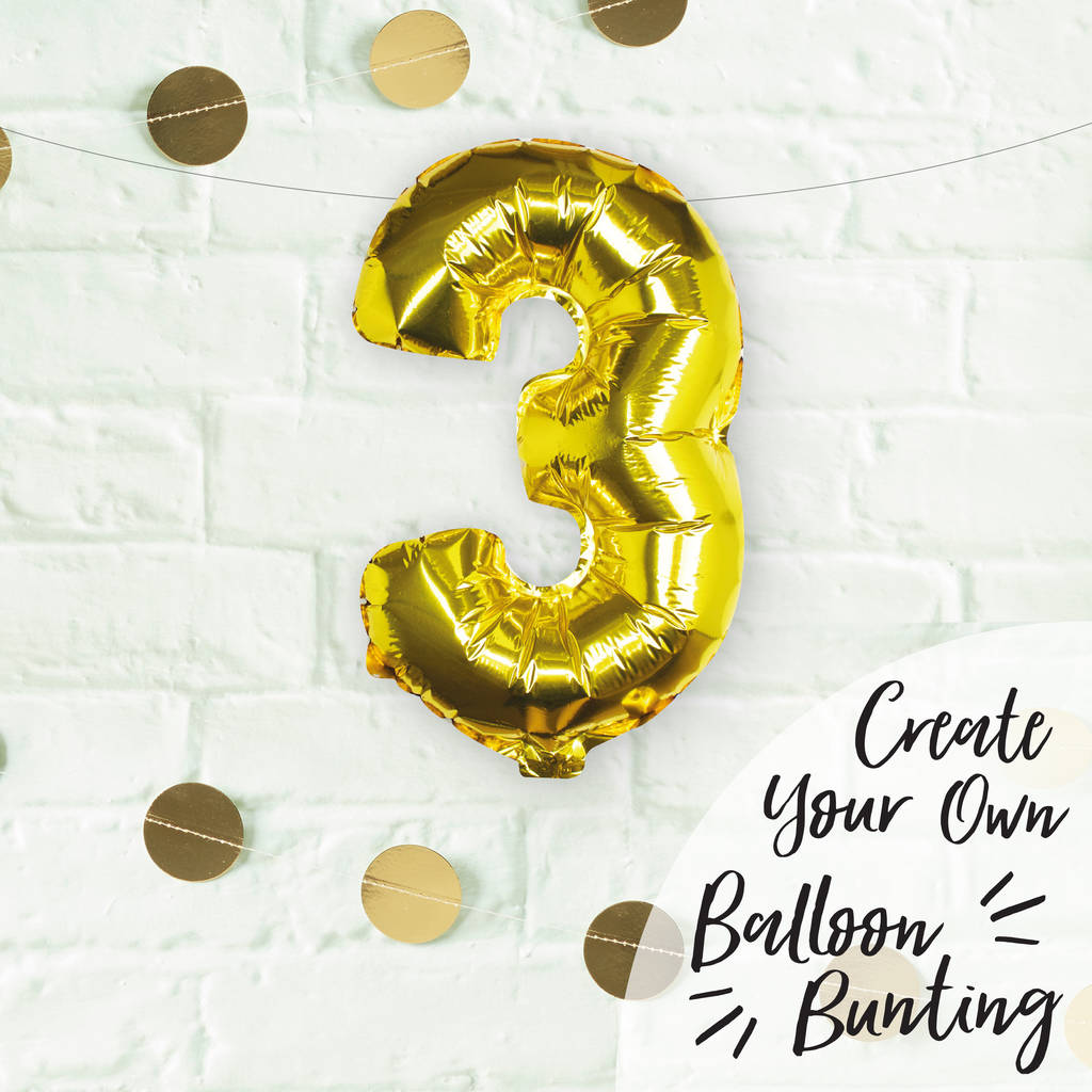 Individual Gold No Helium Number Party Balloon Three