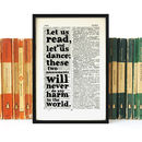 Voltaire 'Let Us Read And Let Us Dance' Quote Print