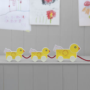 Wooden Duck Family Pull Along - traditional toys & games