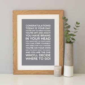 Dr Seuss 'Congratulations' Quote Print