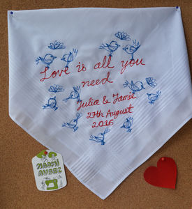 Embroidered 'Love Is…' Art Handkerchief - handkerchiefs