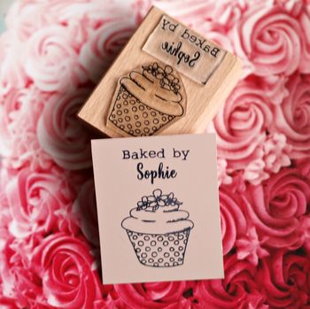 Personalised 'Baked By…' Cupcake Rubber Stamp