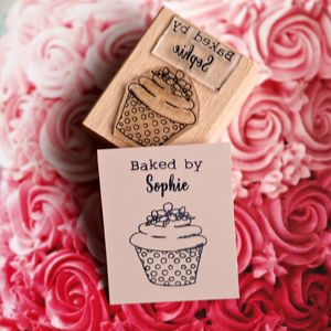 Personalised 'Baked By…' Cupcake Rubber Stamp - children's cooking