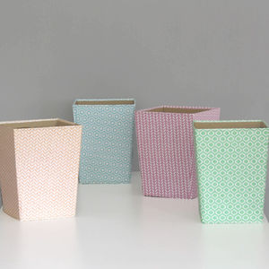 Recycled Pastel Geometric Waste Paper Bin - view all sale items