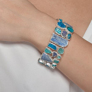 Apatite, Kyanite And Tanzanite Statement Bracelet