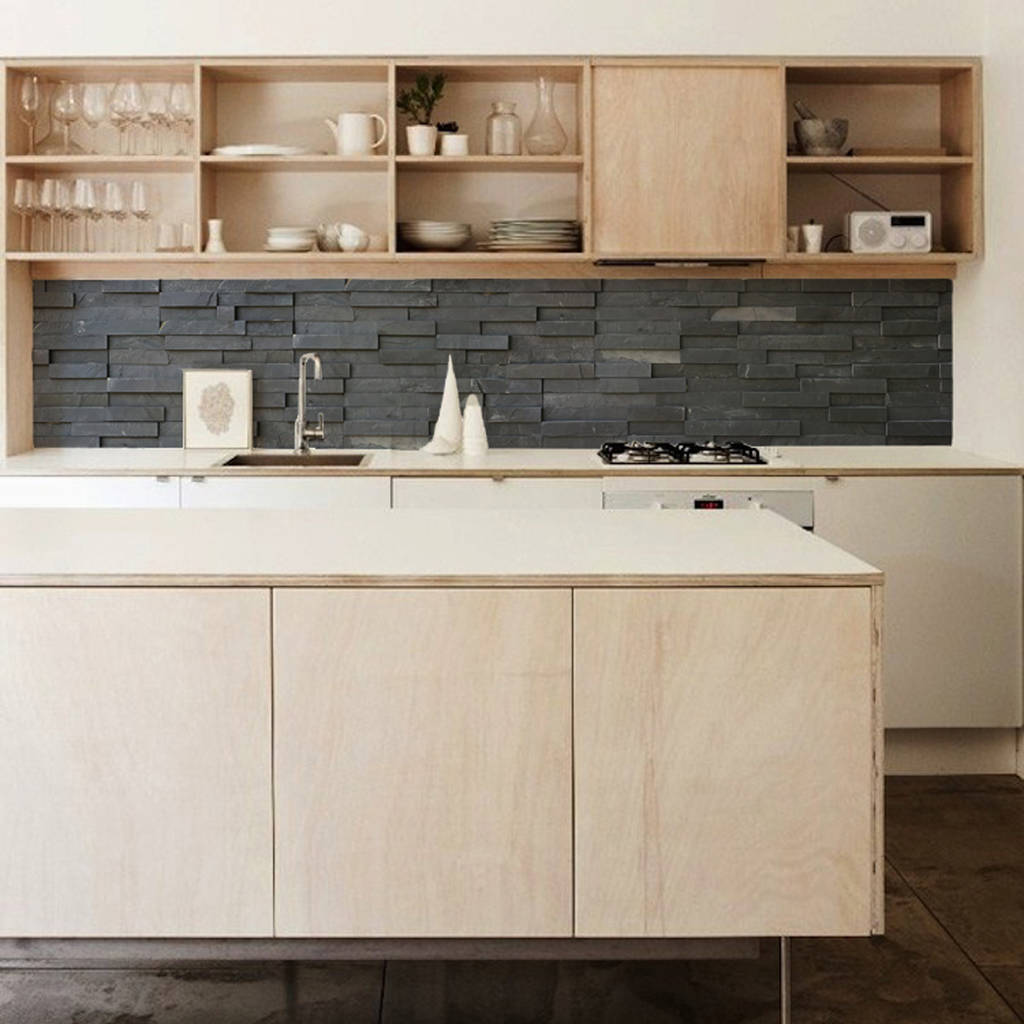 Slate Tiles Kitchen Walls Backsplash Wallpaper By Lime Lace Notonthehighstreet Com