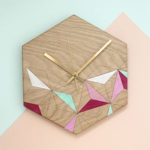 Mint And Blush Kaleidoscope Geometric Clock - bedroom