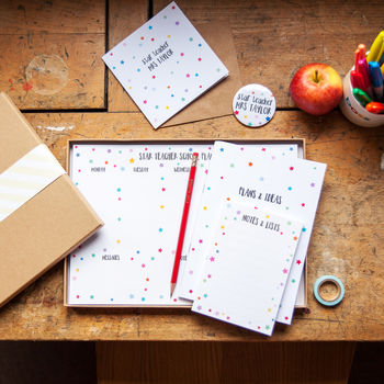 Star Teacher Stationery Gift Box With Desk Planner