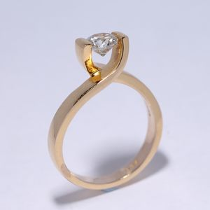 Diamond Solitaire Gold Ring - women's jewellery