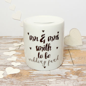 Personalised Wedding Fund Ceramic Money Box