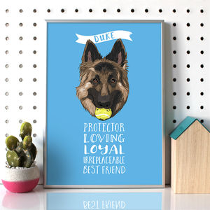 Personalised Dog Portrait With Traits - typography