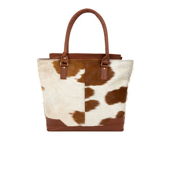 Brown And White Pony Hair Florence Tote Handbag