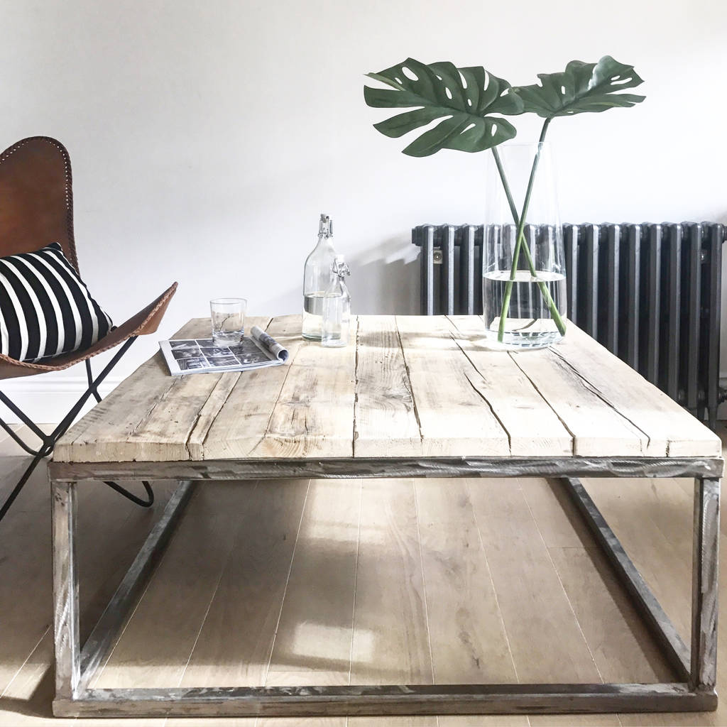 amazing reclaimed wood coffee table with raw steel box frame coffee tables with table en metal - Metal Frame Coffee Table