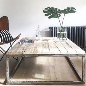 Reclaimed Wood Coffee Table With Raw Steel Box Frame - furniture