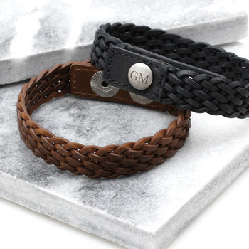 Personalised Initial Plaited Leather Bracelet