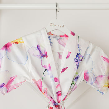 Purple Floral Watercolour Flower Girl Robe Gown