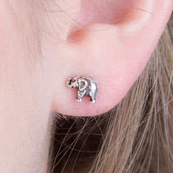 Cute Elephant Small Stud Sterling Silver Earrings