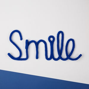 'Smile' Knitted Wire Word Sign - decorative letters