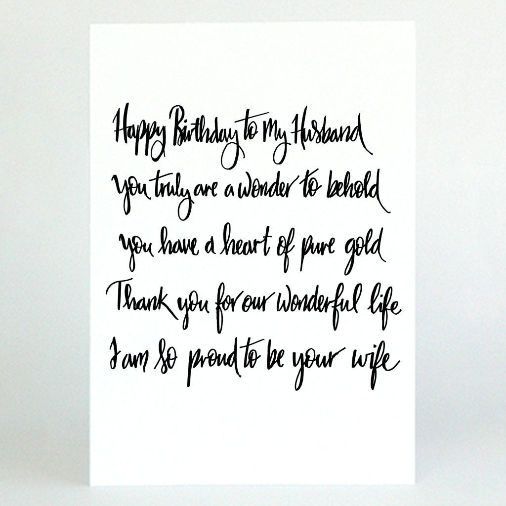 Poem Husband Birthday Card