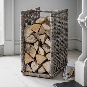 Tall Rattan Log Holder