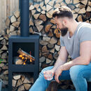 Steel Chiminea With Wood Storage