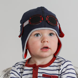 Baby's Pilot Hat With Goggles Navy - babies' hats