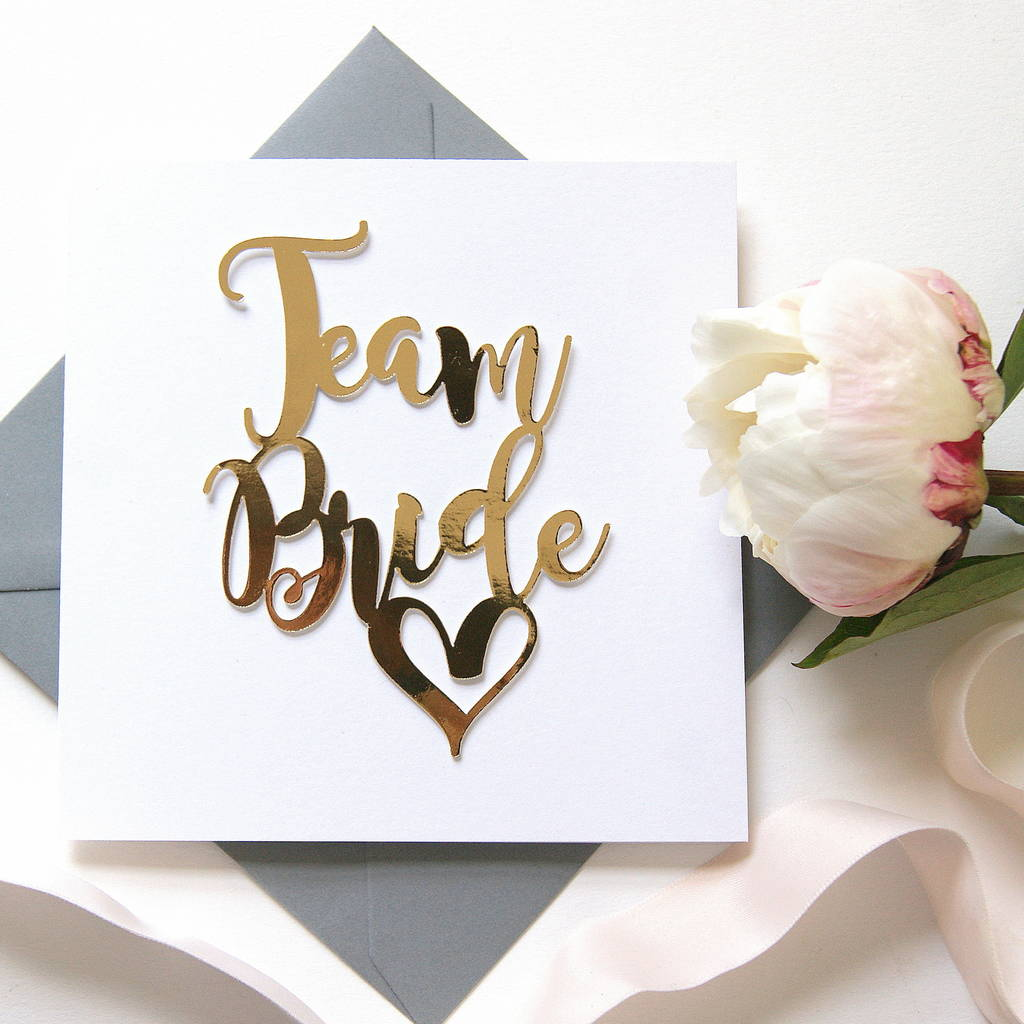 Hen stag party invitations notonthehighstreet team bride card luxe gold hen stag party invitations monicamarmolfo Choice Image