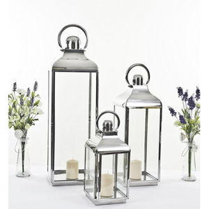 Stainless Steel Lantern Set Of Three - lighting