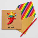 Handmade Hot Stuff Chilli Glittered Personalised Card
