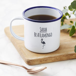 Personalised Flamingo Enamel Mug - mugs