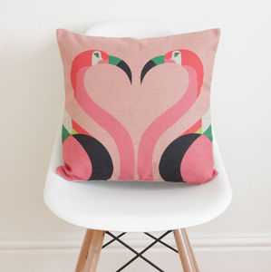 Geometric Flamingos Cushion Cover