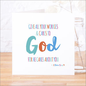 'Give Your Cares To God' Contemporary Bible Verse Card