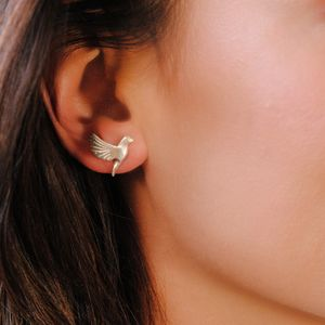 Sterling Silver Bird Stud Earrings - earrings