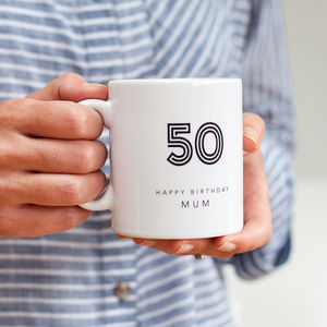 50th Birthday Mug With Personalised Name - 50th birthday gifts