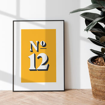 Personalised 'House Number' Colourful Art Print