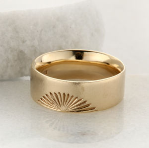 Wide Gold Sunrise Ring