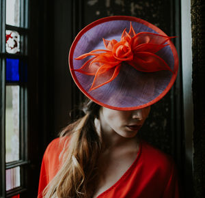 Orange And Purple Disk Hat 'Fire Lily' - hats & fascinators