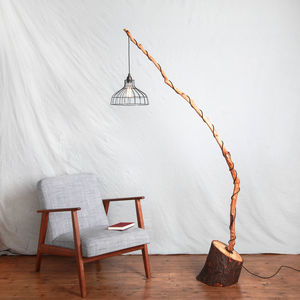 Bowed Wooden Floor Light With Metal Caged Shade - lighting