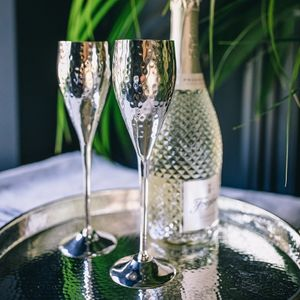 Silver Plated Hammered Champagne Flute Set - home wedding gifts
