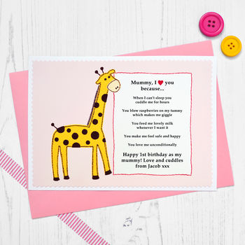 'Giraffe Love You Because' Personalised Birthday Card