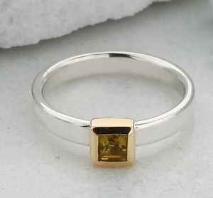 Square Citrine Stacking Unity Ring